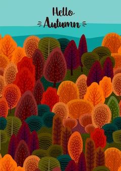 Hello autumn design with autumn forest illustration