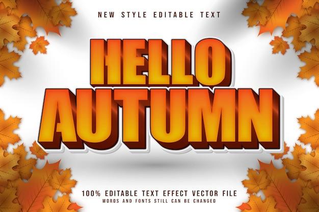 Hello autumn editable text effect 3 dimension emboss cartoon style