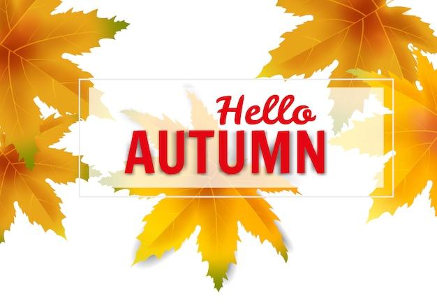 Hello autumn falling leaves colorful fall