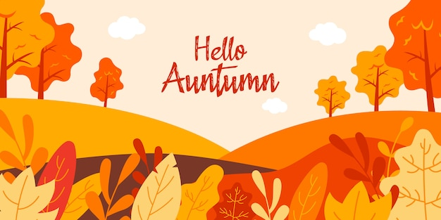 Hello autumn flat illustration landscape