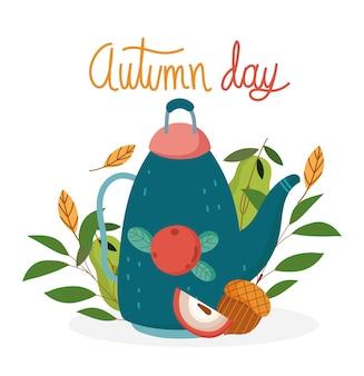 Привет осень, цветочные украшения чайник желудь фрукты плакат.
