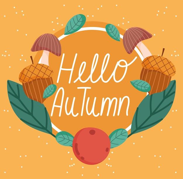 Привет осенние листья плода гриба желудя цветочного венка оранжевую предпосылку.