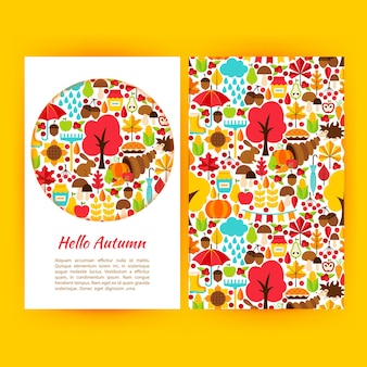 Hello autumn flyer template. vector illustration of fall seasonal concept.