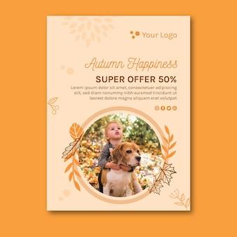 Hello autumn flyer template
