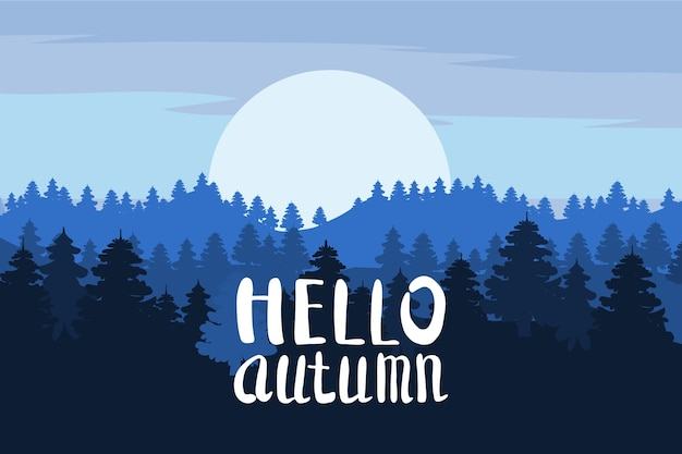 こんにちは秋、森、山、松の木のシルエット、もみ、パノラマ、地平線、レタリング