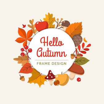 Hello autumn frame in flat style