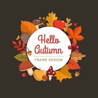 Hello autumn frame in flat style.