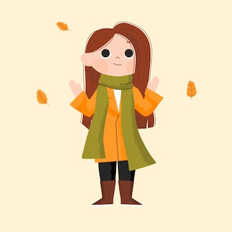 Hello autumn. girl wearing autumn clothes doing outdoor activity. hand drawn children character illustration