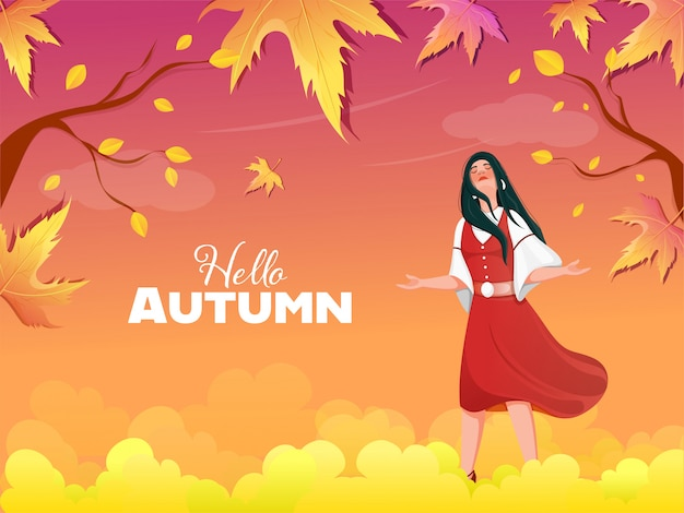 Hello autumn gradient background with beautiful young girl enjoying.