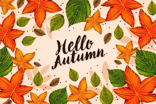 Hello autumn greeting background