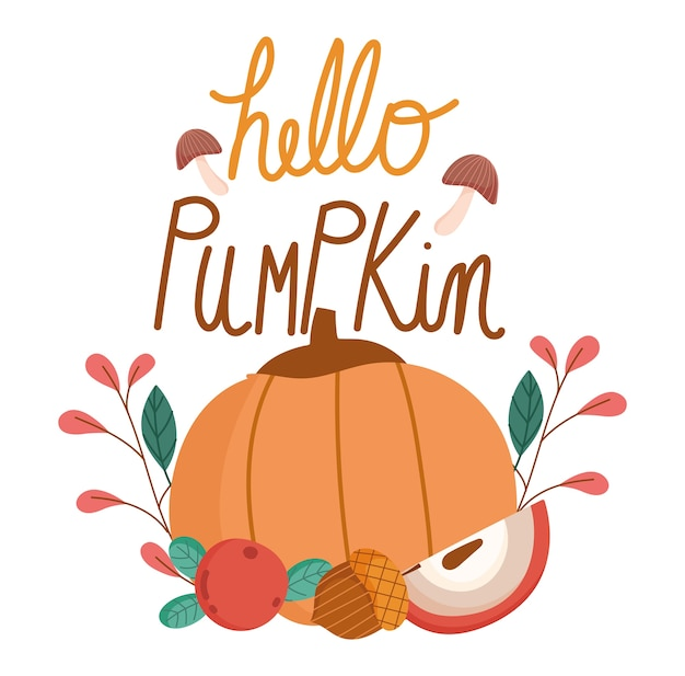 Здравствуйте, осень, поздравительные открытки декоративные тыквенные листья фруктов желудь.