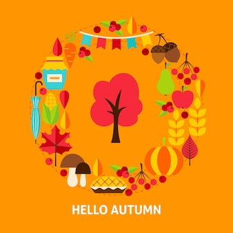 Hello autumn greeting card. stock vector illustration. fall seasonal concept.