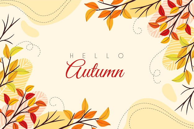 Hello autumn hand drawn background