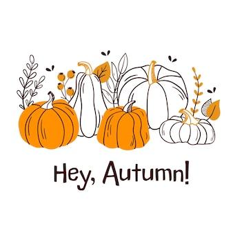 Привет осень! рисованной разноцветные осенние листья. элементы дизайна. векторная иллюстрация