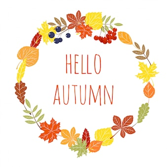 Hello autumn. hand drawn different colored autumn leaves