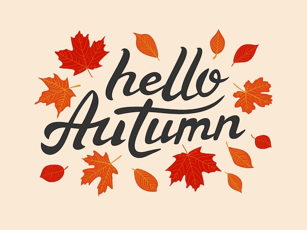 Hello autumn hand drawn lettering with leaves