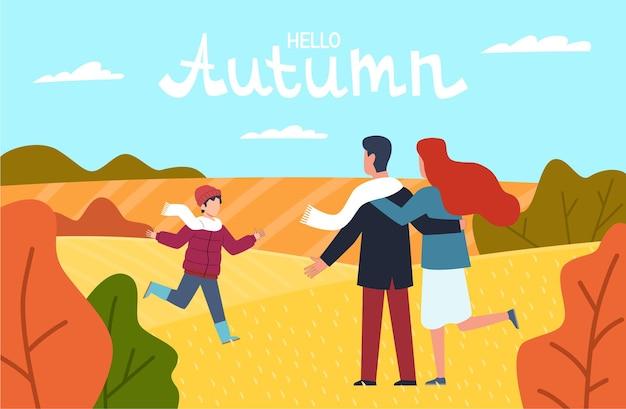 Привет осень. счастливая семья в осеннем парке, молодые родители, мать, отец и сын, гуляют среди красно-желтых деревьев с падающими оранжевыми листьями, осенний пейзаж, поздравительная открытка с надписью векторный фон