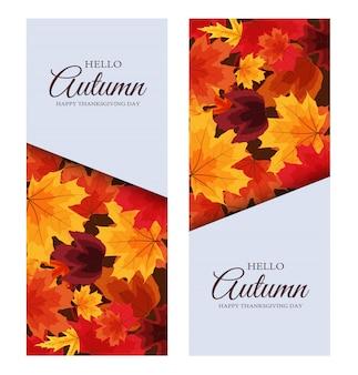 Привет осень. счастливый день благодарения фон с падающими листьями.