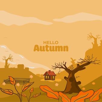 Hello autumn illustration background