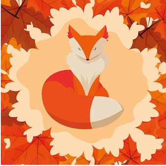 Hello autumn illustration with fox animal in frame of leafs