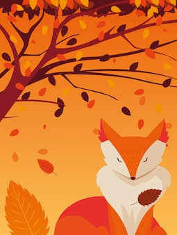 Hello autumn illustration with fox animal