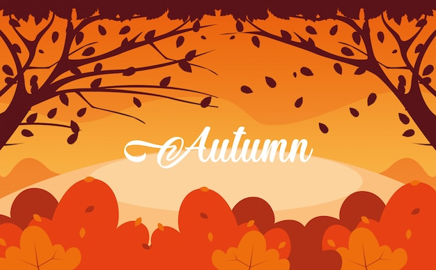 Hello autumn illustration with landscape and leafs