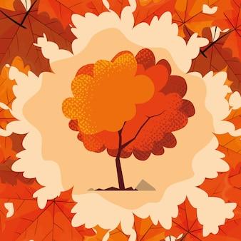 Hello autumn illustration with tree plant