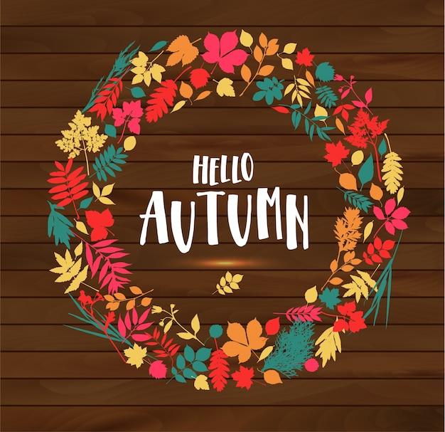 Ciao illustrazione di autunno su sfondo di legno