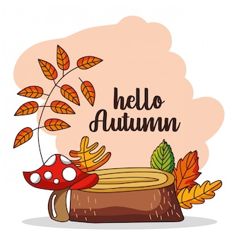 Hello autumn illutration with leaves falling