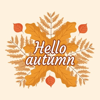 Hello autumn inscription