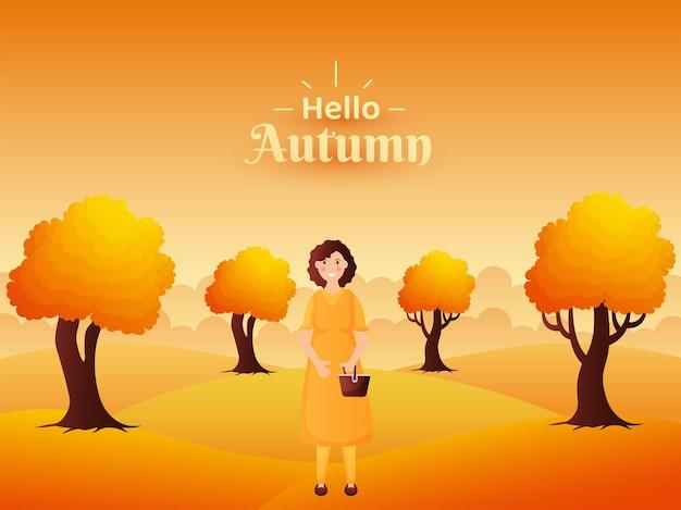 Привет осенний пейзаж фона дизайн иллюстрация с красивой женщиной