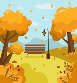 Hello autumn landscape illustration. design of social media, banner, poster, newsletter, advertisement, sale template, leaflet, placard, brochure, wallpaper.  vector illustration in cartoon style.