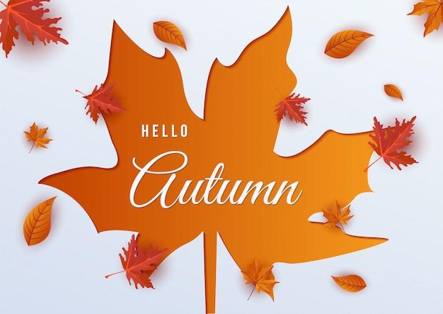 Hello autumn over leaf illustration