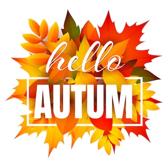 Hello autumn leaflet with bunch of leaves
