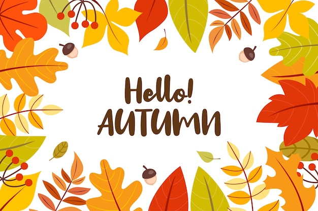 Hello! autumn leaves frame background