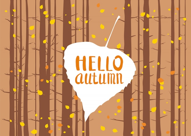 Hello autumn lettering on an autumn leaf fall forest