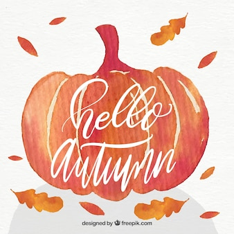Hello autumn lettering background with pumpkin