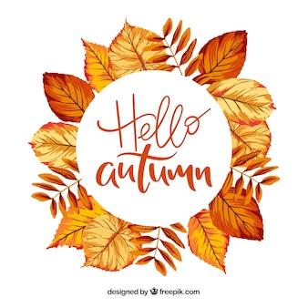 Hello autumn lettering background