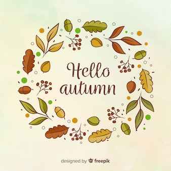 Hello autumn lettering background