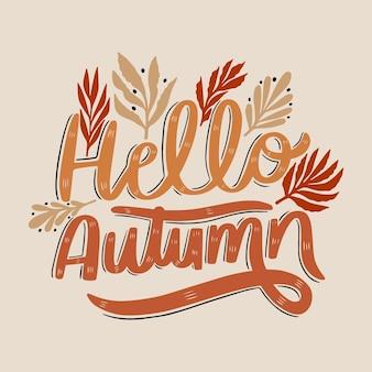 Hello autumn lettering concept