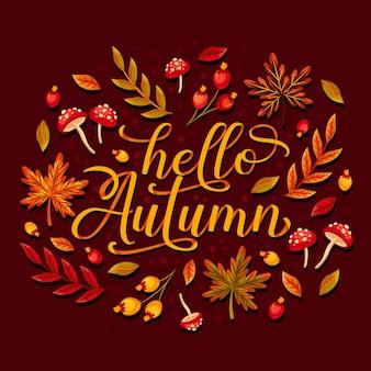 Hello autumn - lettering concept Free Vector