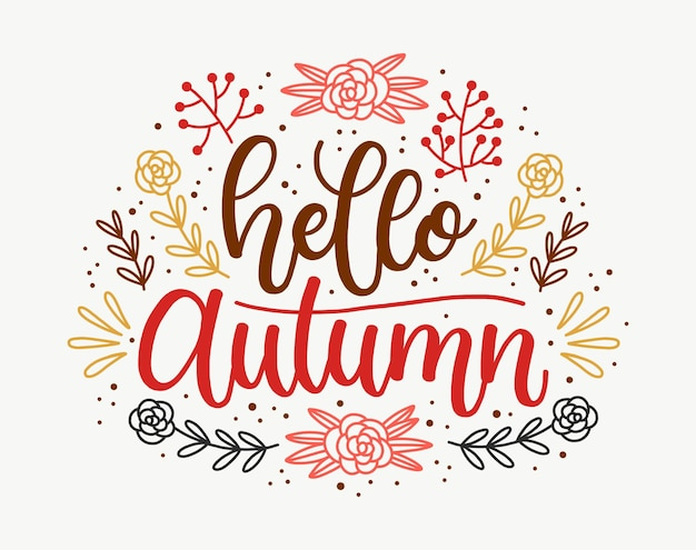 こんにちは秋のレタリングデザイン
