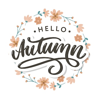 Hello, autumn lettering in floral wreath
