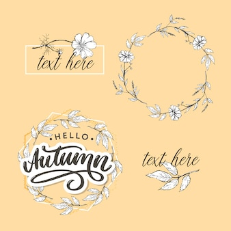 Hello, autumn lettering and frame template in line art style