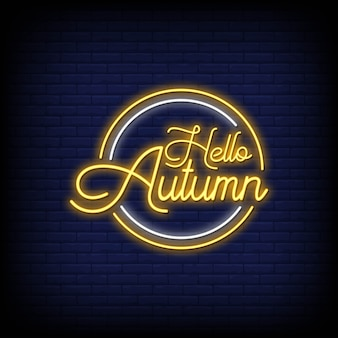 Hello autumn lettering neon signs