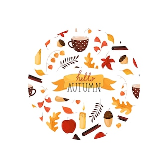 Hello autumn lettering in round frame in flat style