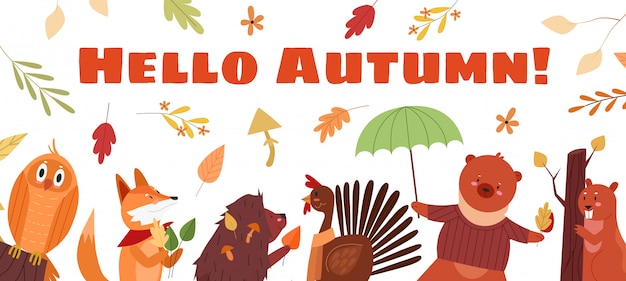 Hello autumn lettering text concept  illustration. cartoon  cute autumnal season background with funny owl fox hedgehog cock bear beaver characters and falling seasonal leaves or mushrooms