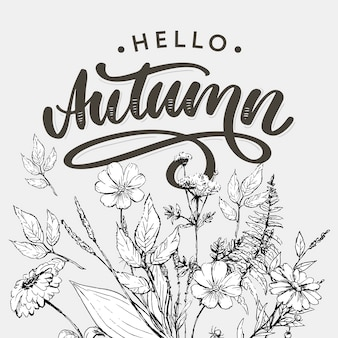 Hello, autumn lettering with flowers and leaves in line art style