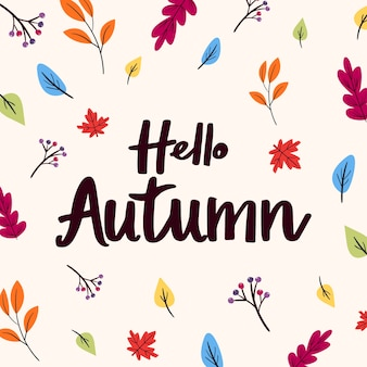 Hello autumn lettering with hand drawn leaves
