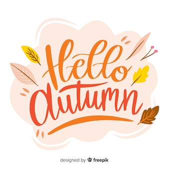 Hello autumn lettering with leaves